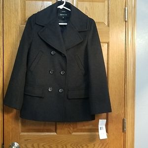 Pea coat, wool, charcoal, Jones NY, sz 6p
